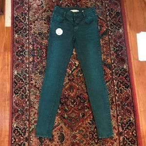 High rise blue/green skinny jeans